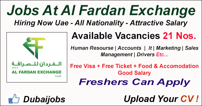 Many Jobs At Al Fardan Exchange Dubai Dubaijobz